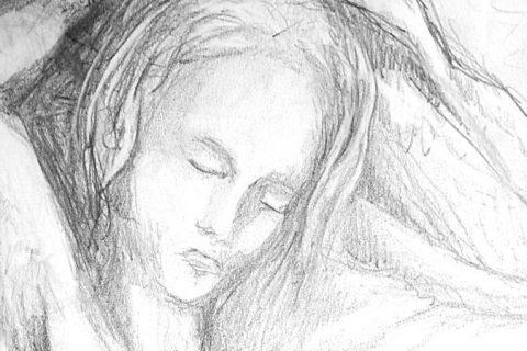 Bleistiftzeichnung einer Frau, die ein Tuch über sich hält