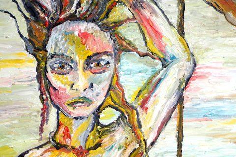 expressionistisches Ölbild einer wild aussehenden Frau