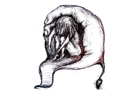 Zeichnung einer Frau, die sich in einer Höhle die durch eine Art Hand geformt ist zusammenkauert oder festgehalten wird