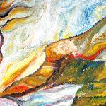 Ölgemälde Kopf einer Frau von der Seite, sie blickt in Richtung eines Berges