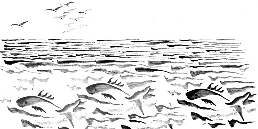 Tuschezeichnung Fische im Meer