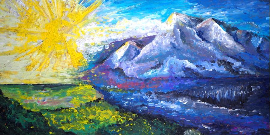 Ölgemälde einer Landschaft mit Bergen, Meer, grüner Wiese und einer Sonne die alles überstrahlt