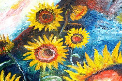 Ölgemälde mit Sonnenblumen und einem versteckten Gesicht