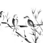 Drei Vögel auf einem Bambuszweig, mit Tusche gezeichnet