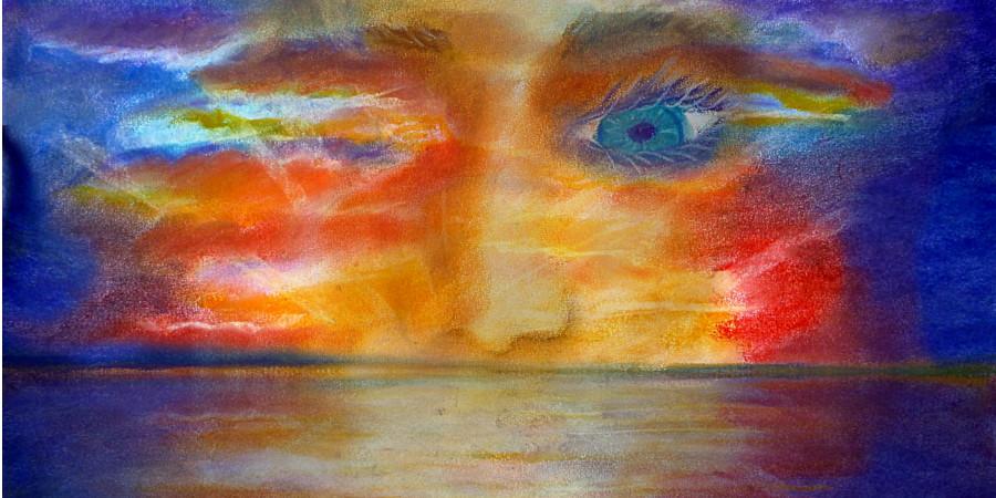 Sonnenuntergang mit gesichtszügen steht für unsere Wahrnehmung und den innneren Kern