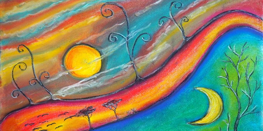 Pastellkreide Bild - Tag und Nacht