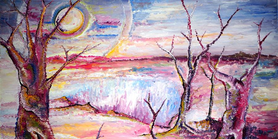 Surreale Landschaft im Mondschein