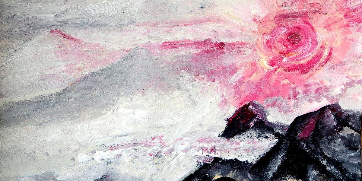 Acrylbild: Rote Sonne über Berggipfeln