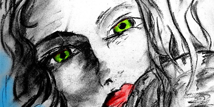 Zeichnung einer Frau mit grünen Augen