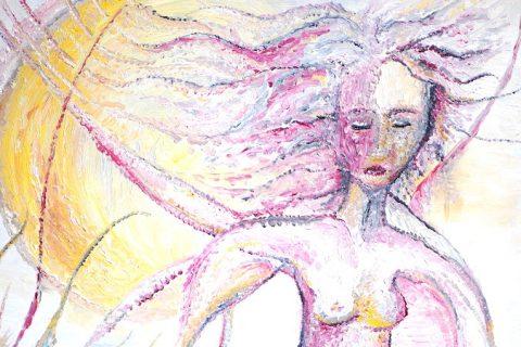 Ölbild Frau vor Mond - symbolisch für auf sich selbst zurückgeworfen sein