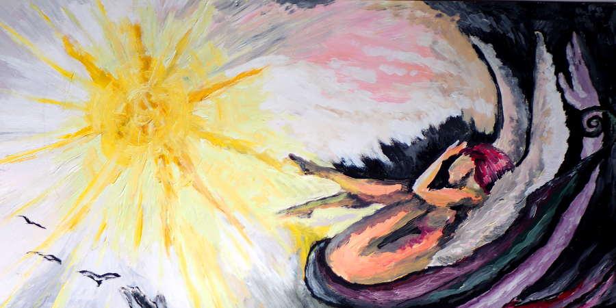 Acrylmalerei, Frau liegt eingerollt und beschützt und wird von gelber greller Sonne bestrahlt