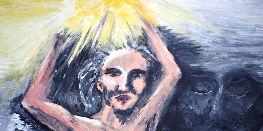 Frau hält gleißendes Licht hoch, hinter ihr Dunkelheit (Acrylmalerei)